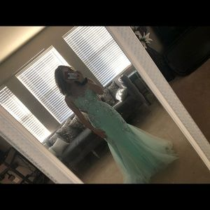 Light blue prom dress with jewels all over it!